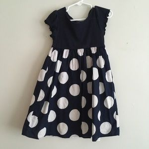 Baby Gap polka dot dress navy white lined